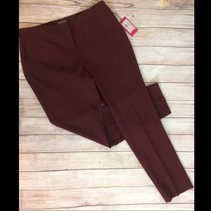 Vince Camuto Burgundy Suiting Skinny Ankle Pants